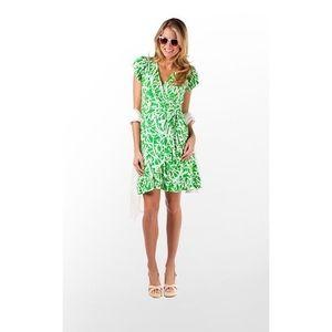 Lilly Pulitzer Adriel Dragonfly Wrap Dress XS Gree